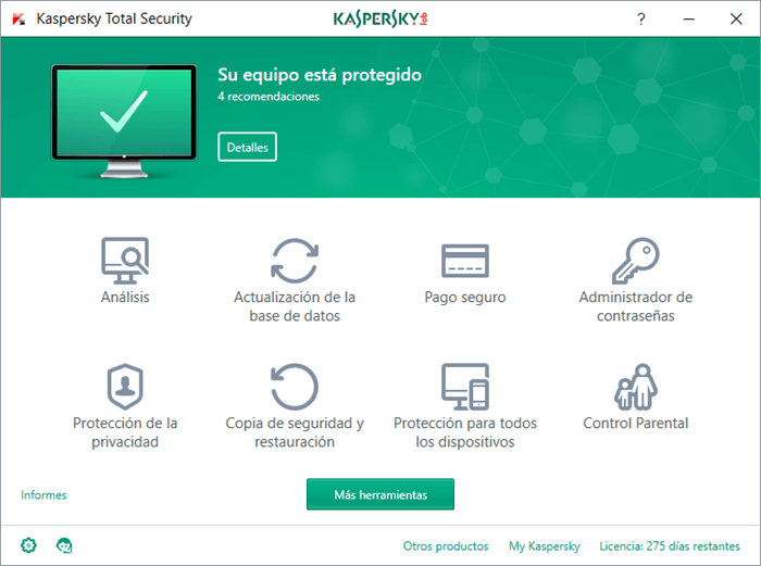 Interfaz Antivirus Total Security Kaspersky 2017