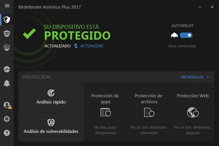 Interfaz de Bitdefender Antivirus Plus 2017