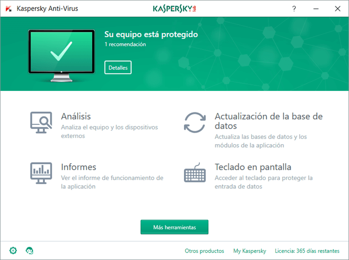 Interfaz de Kaspersky Anti-Virus 2017